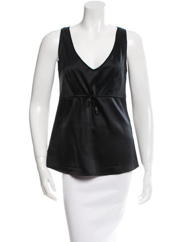 Brunello Cucinelli Sleeveless Silk & Cashmere-Blend Top None