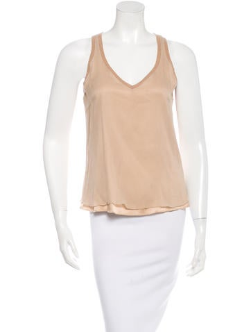 Brunello Cucinelli Silk Cashmere-Trimmed Top None