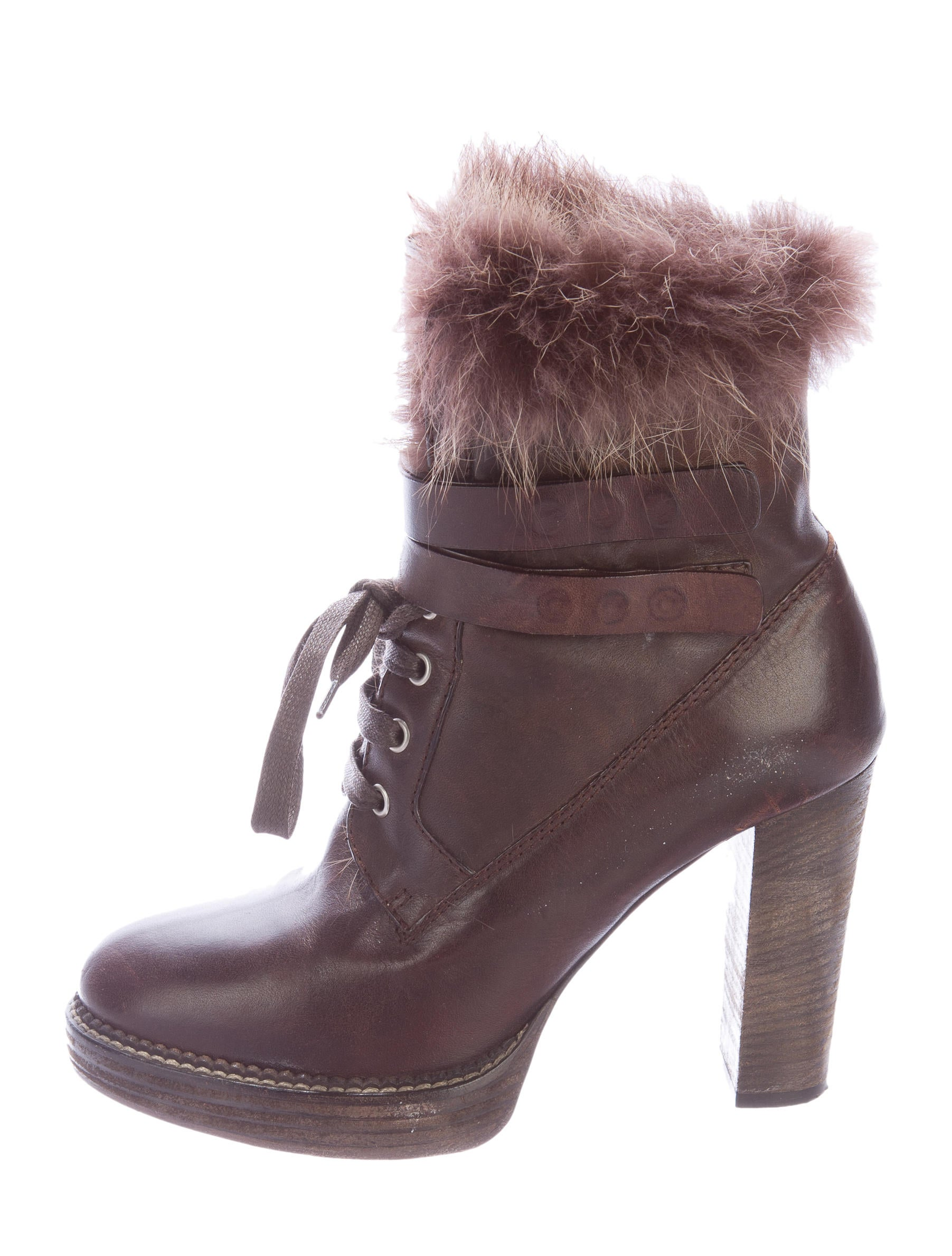 brunello cucinelli fur trimmed lace up ankle boots shoes
