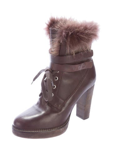 Fur-Trimmed Lace-Up Ankle Boots