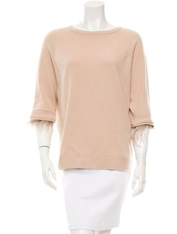 Brunello Cucinelli Feather-Accented Rib Knit Top None