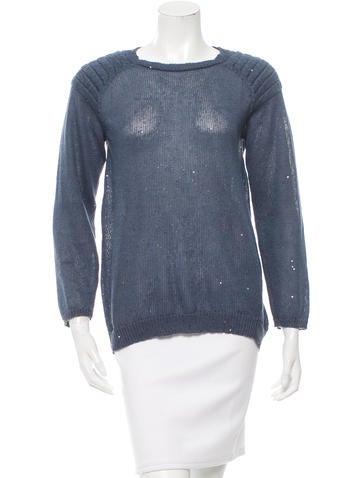Brunello Cucinelli Sequined Three-Quarter Sleeve Sweater None