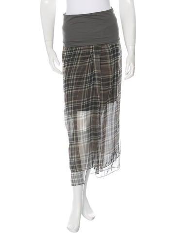 Brunello Cucinelli Silk Plaid Skirt None