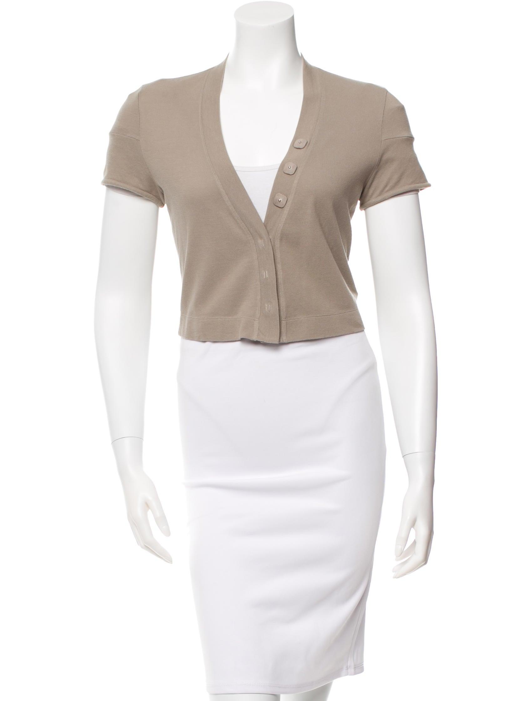 Short Sleeve V Neck Cardigan - Full Zip Sweater