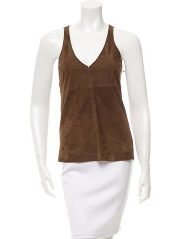 Brunello Cucinelli Cashmere & Suede Top None