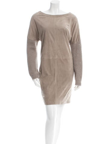 Brunello Cucinelli Cashmere-Accented Suede Dress w/ Tags None