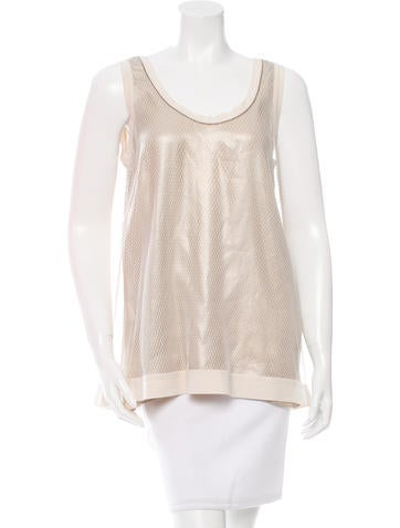 Brunello Cucinelli Mesh-Accented Silk Top w/ Tags None