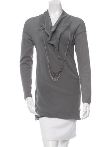 Brunello Cucinelli Monili-Embellished Cashmere & Silk Top None