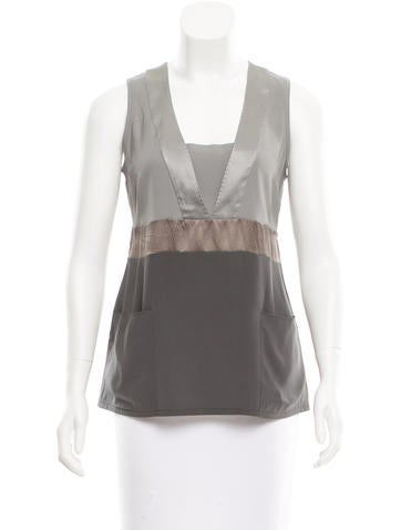 Brunello Cucinelli Silk Colorblock Top None
