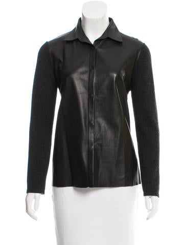 Brunello Cucinelli Cashmere Leather-Paneled Top None