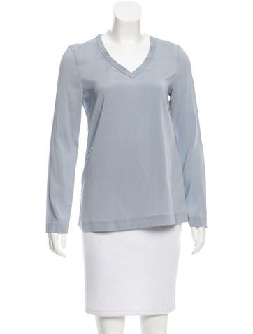 Brunello Cucinelli Silk V-Neck Top None