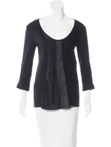Brunello Cucinelli Silk-Accented Long Sleeve Top None