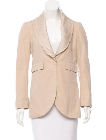 Brunello Cucinelli Silk-Trimmed Button-Up Blazer None
