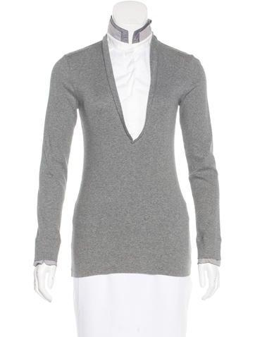Brunello Cucinelli Monili-Trimmed Knit Sweater None