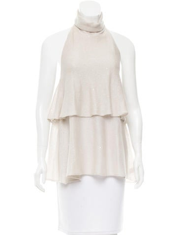 Brunello Cucinelli Sequin-Accented Linen Top w/ Tags None