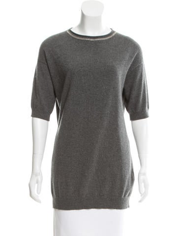 Brunello Cucinelli Monili-Trimmed Cashmere Top w/ Tags None
