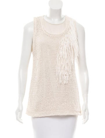 Brunello Cucinelli Fringe-Trimmed Open Knit Top w/ Tags None
