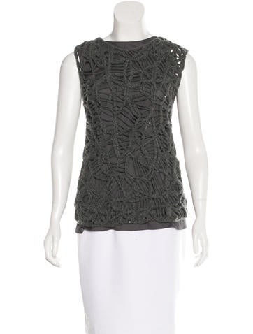 Brunello Cucinelli Sequin-Embellished Cashmere Top w/ Tags None