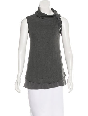 Brunello Cucinelli Silk-Trimmed Cowl Neck Top None
