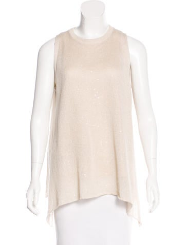 Brunello Cucinelli Sequined Linen & Silk Top None