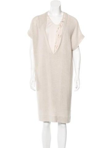 Brunello Cucinelli Fringe-Accented Midi Dress None