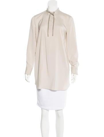 Brunello Cucinelli Monili-Trimmed Silk Tunic w/ Tags None