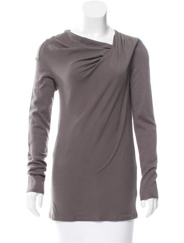 Brunello Cucinelli Draped Long Sleeve Top None