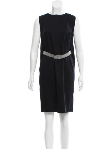 Brunello Cucinelli Belted Wool-Blend Dress w/ Tags None