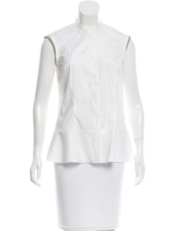 Brunello Cucinelli Monili-Trimmed Button-Up Top None