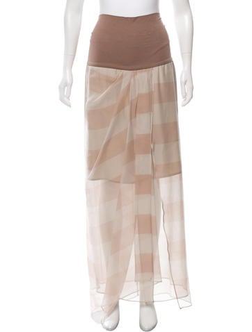 Brunello Cucinelli Silk Striped Skirt w/ Tags None