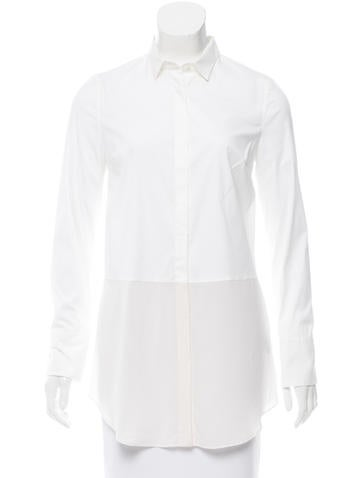 Brunello Cucinelli Sheer Panel Button-Up Top None