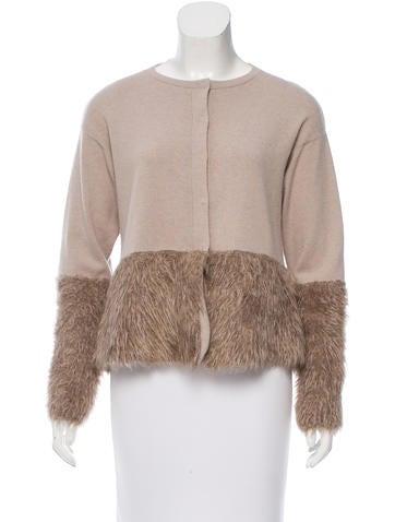 Brunello Cucinelli Cashmere Faux Fur-Paneled Cardigan None