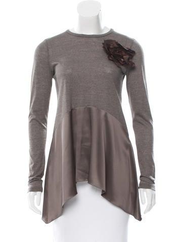 Brunello Cucinelli Silk-Trimmed Wool Top None