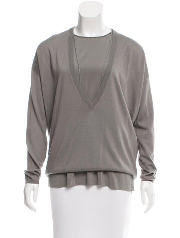 Brunello Cucinelli Monili-Trimmed Cashmere & Silk-Blend Top None