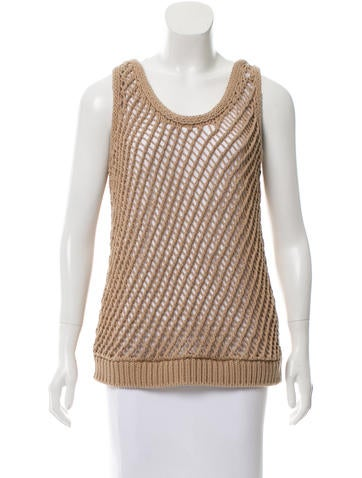 Brunello Cucinelli Open Knit Sleeveless Top None