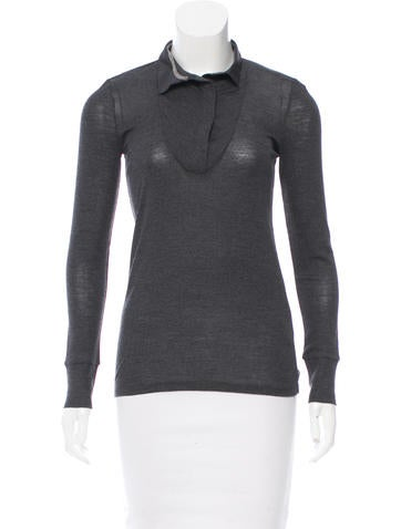 Brunello Cucinelli Monili-Trimmed Knit Top w/ Tags None