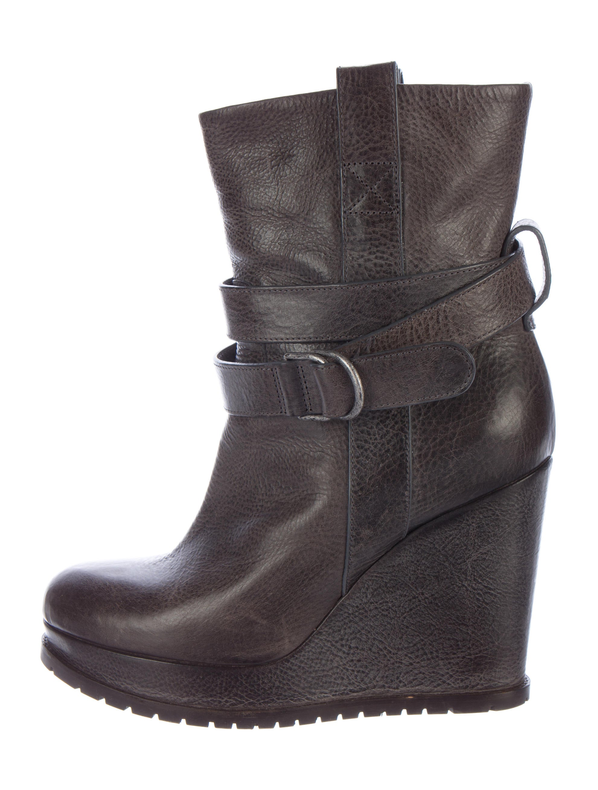 brunello cucinelli leather wedge ankle boots shoes