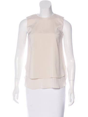 Brunello Cucinelli Silk Monili-Trimmed Top w/ Tags None