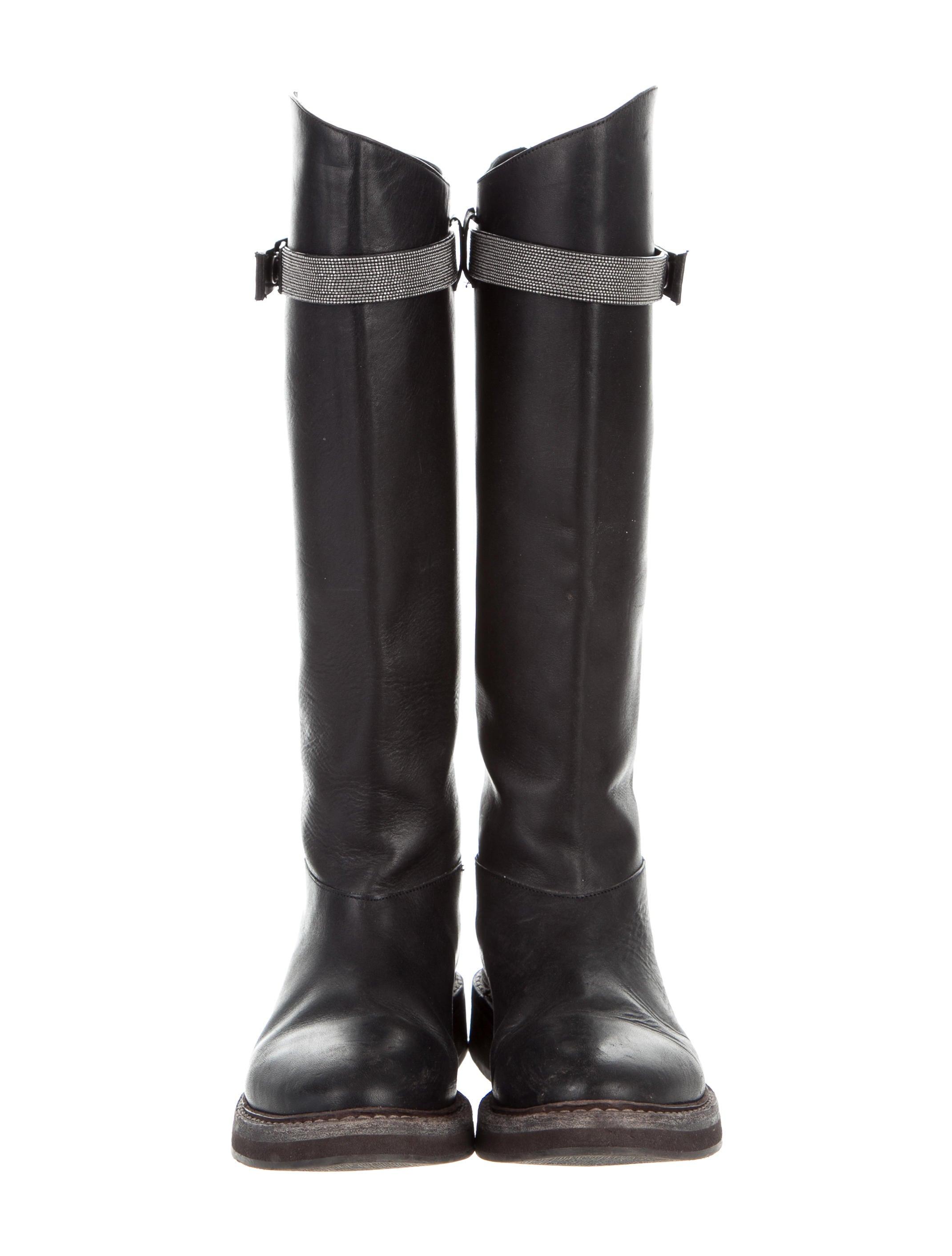 brunello cucinelli monili knee high boots shoes