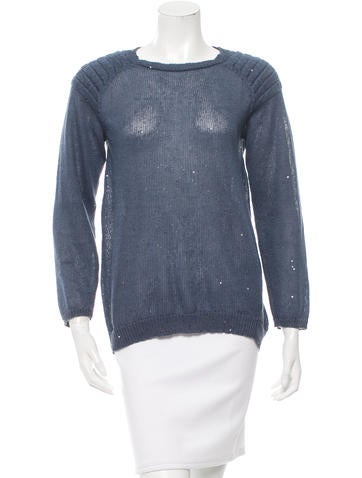 Brunello Cucinelli Sequined Three-Quarter Sleeve Sweater None