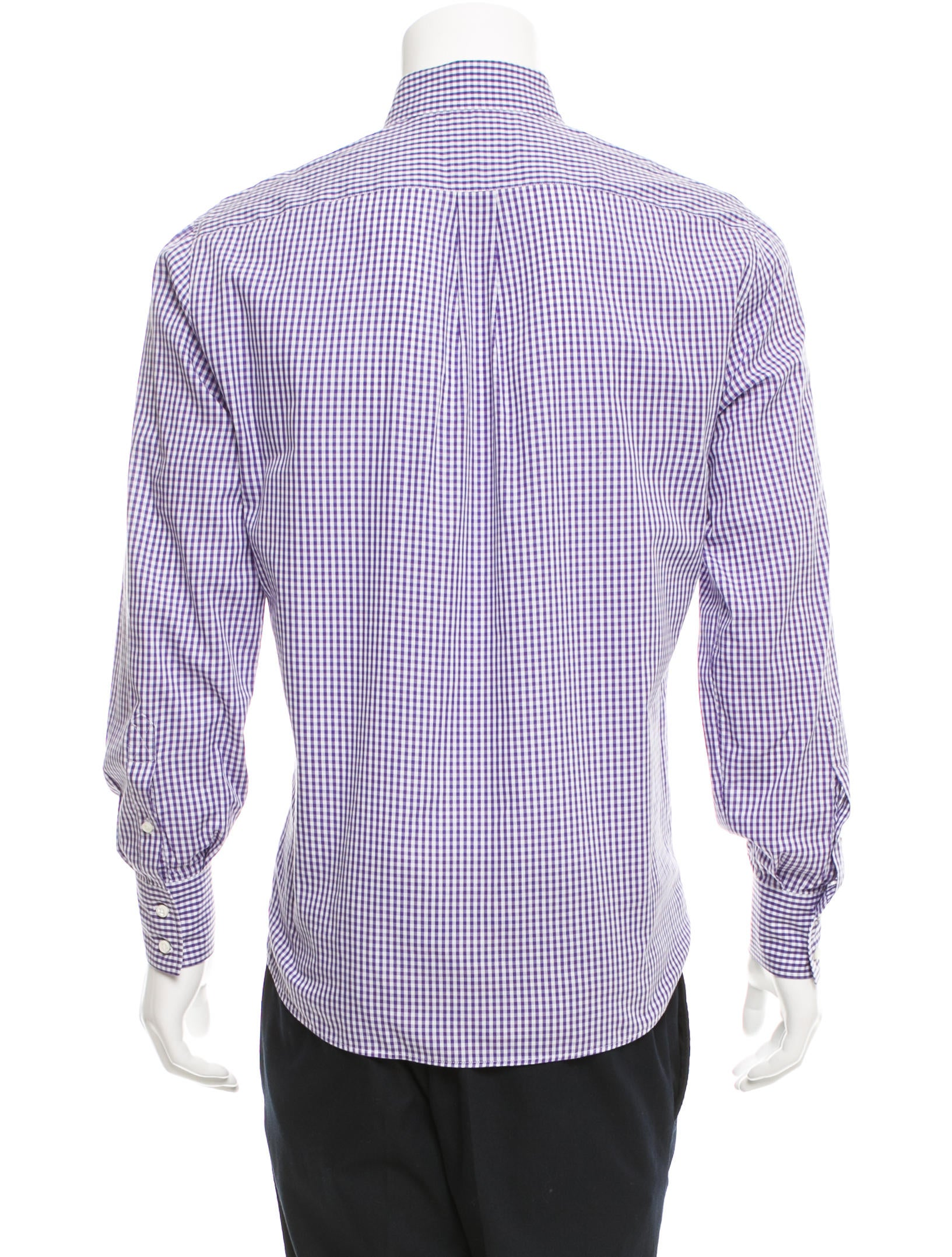 Brunello cucinelli gingham button up shirt clothing for Men s purple gingham shirt