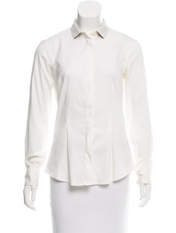 Brunello Cucinelli Cashmere-Trimmed Button-Up Top None