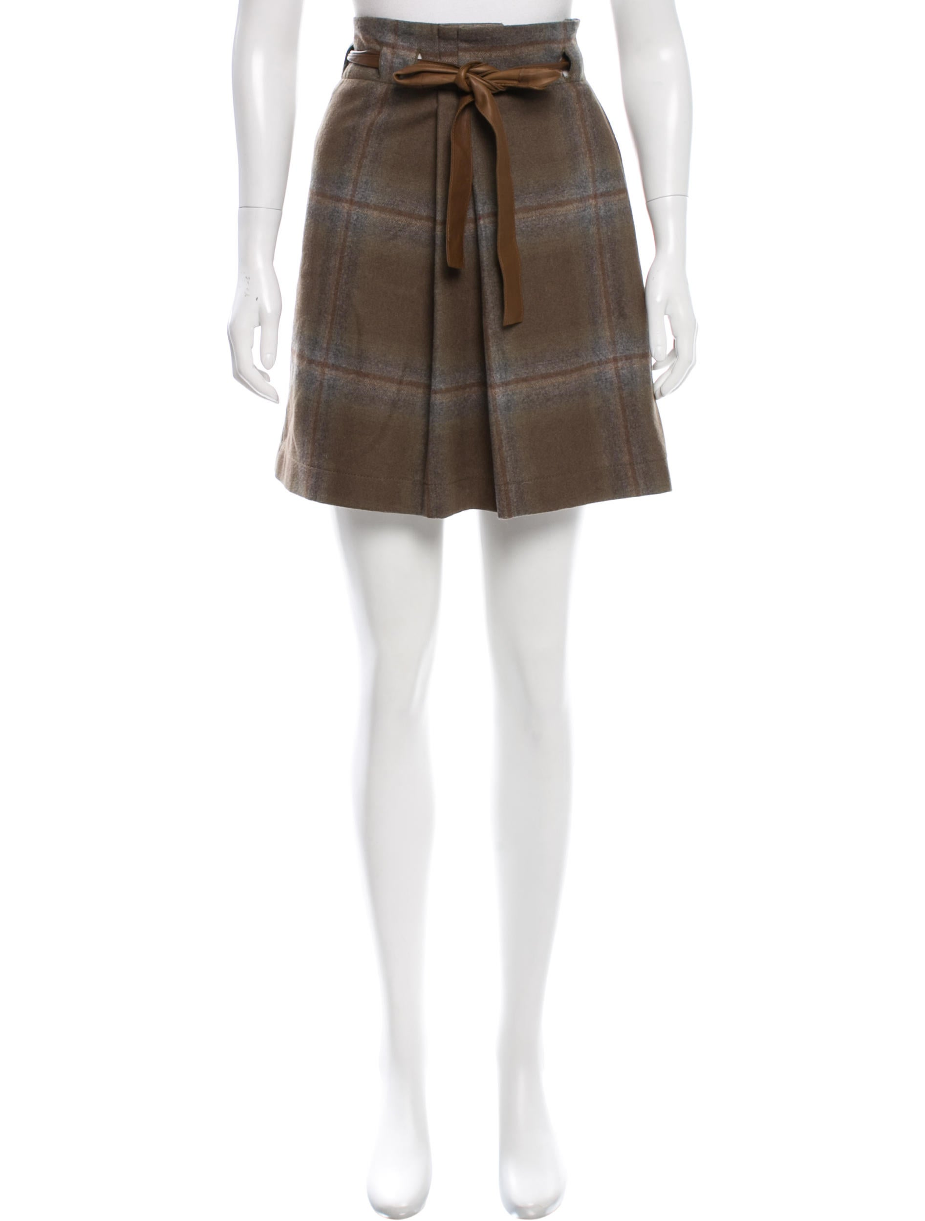 Marc Jacobs Pleated Side-Zip A-Line Wool Skirt Details Marc Jacobs wool skirt with paneled pleating. Mid-rise; off-center front zip. A-line silhouette. Brunello Cucinelli Straight Plaid Wool Mini Skirt w/ Paillettes Details Brunello Cucinelli plaid wool skirt with paillettes. Natural rise. Straight silhouette. Hidden side zip. Mini length.