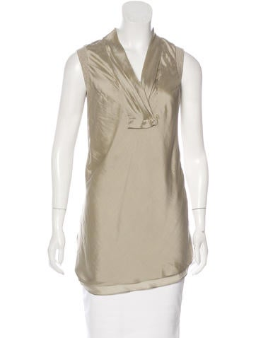 Brunello Cucinelli Silk-Trimmed Sleeveless Top None