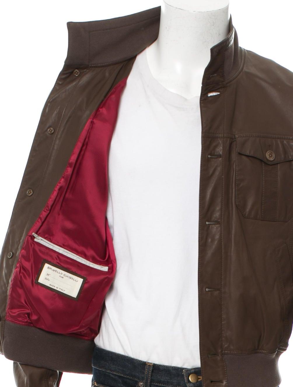 Brunello Cucinelli Leather Bomber Jacket - Clothing - BRU42492   The