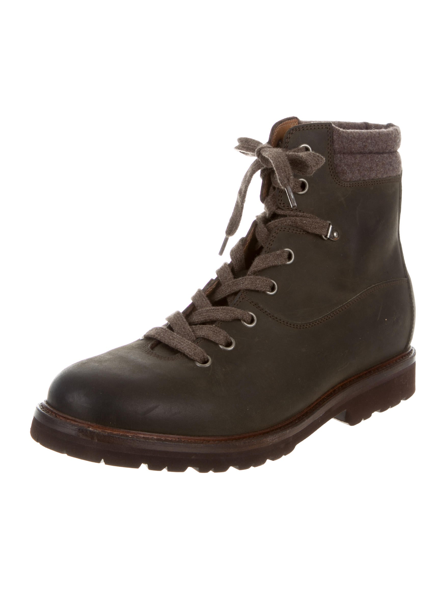 brunello cucinelli leather hiking boots shoes bru42885