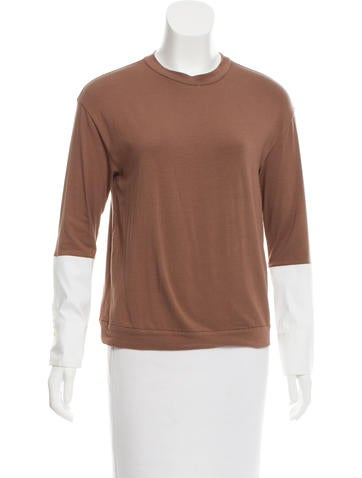 Brunello Cucinelli Two-Tone Long Sleeve Top None