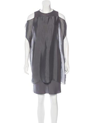 Brunello Cucinelli Knit-Paneled Satin Dress None