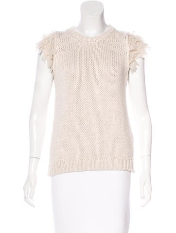 Brunello Cucinelli Open Knit Cutout Top None
