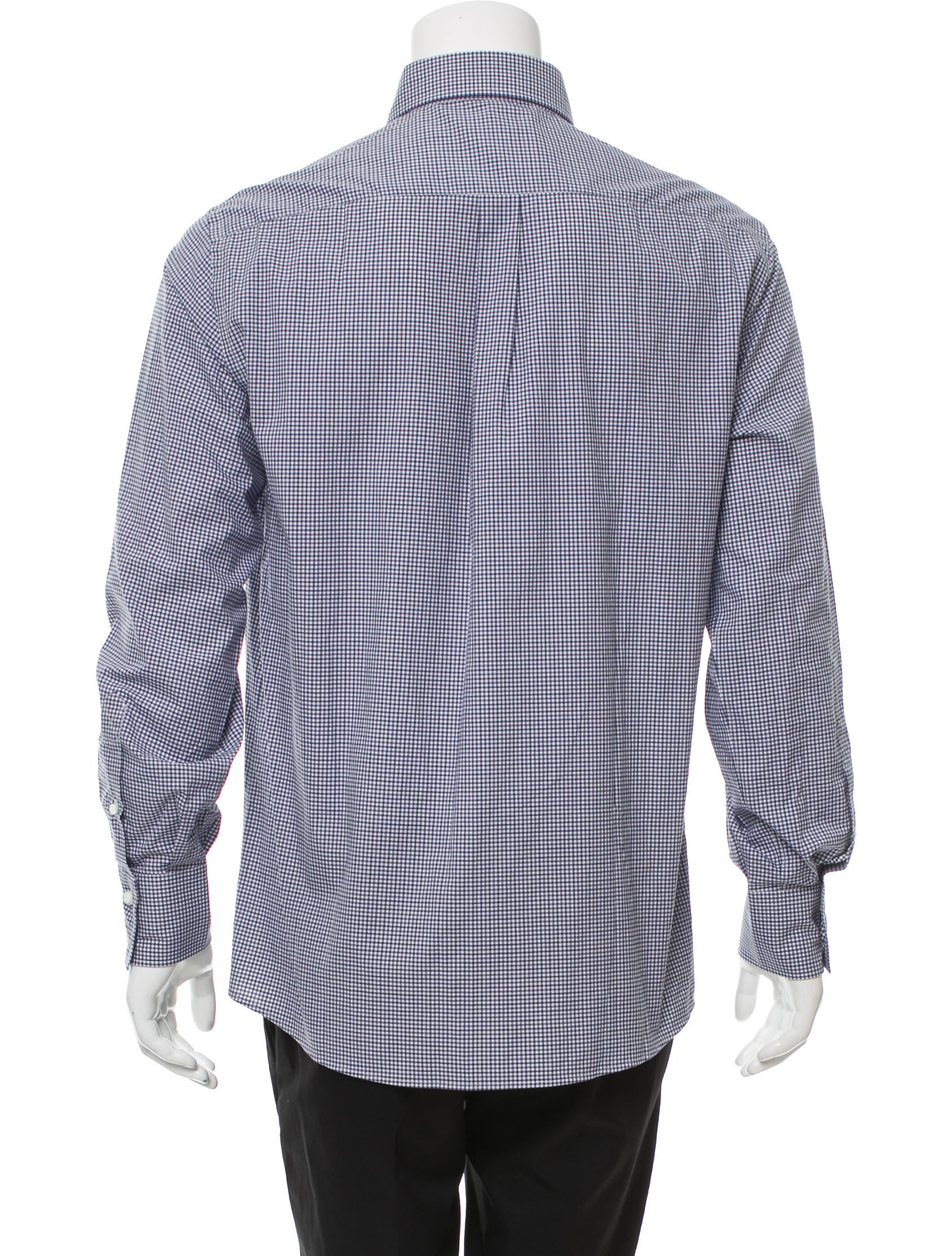 Brunello cucinelli gingham button up shirt w tags for Men s purple gingham shirt